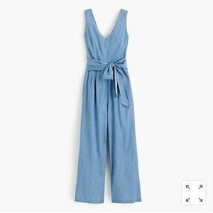 J. Crew Chambray Wrap Tie Jumpsuit - size 00 NWT!